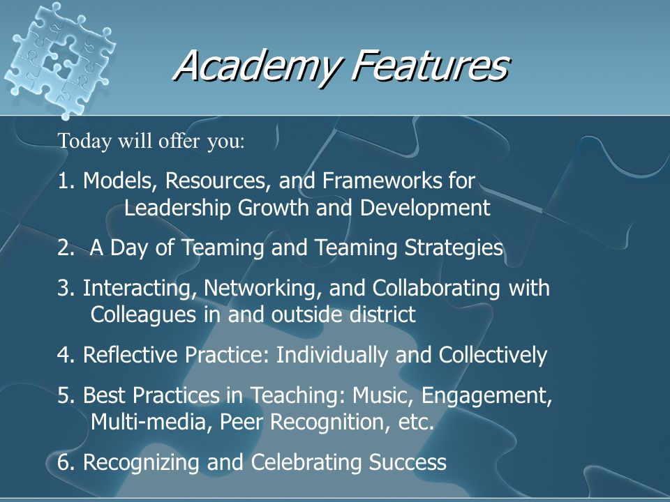 Academy Features Today will offer you: