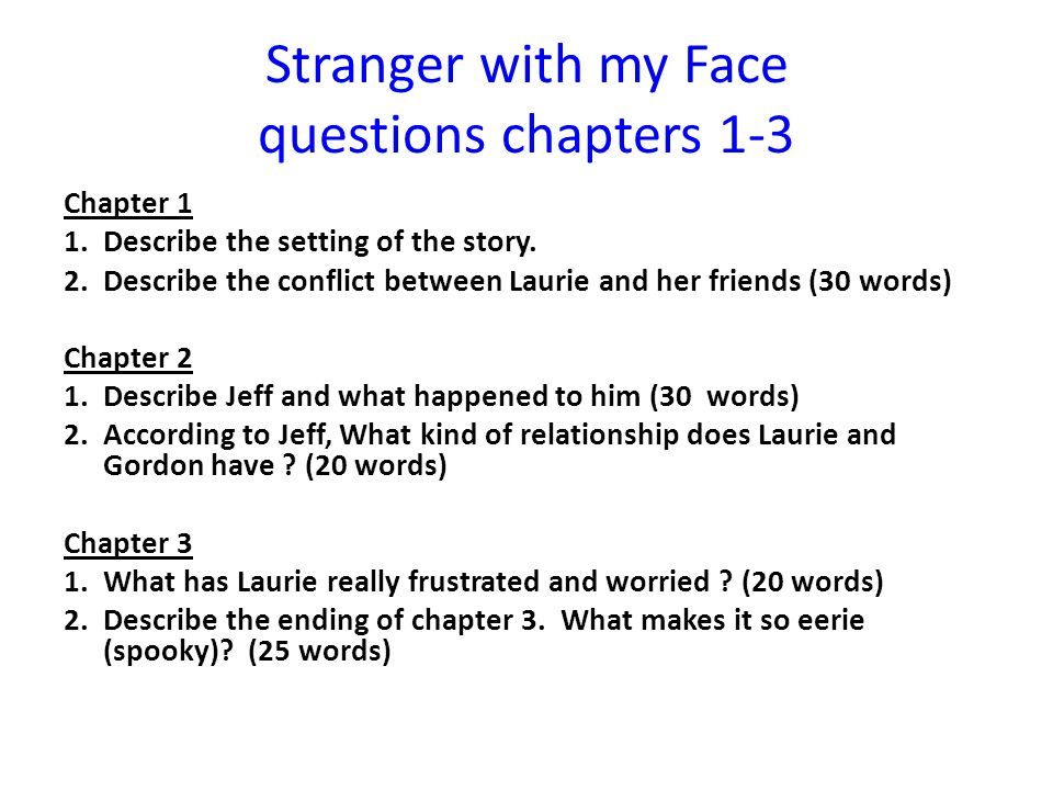 Stranger with my Face questions chapters 1-3