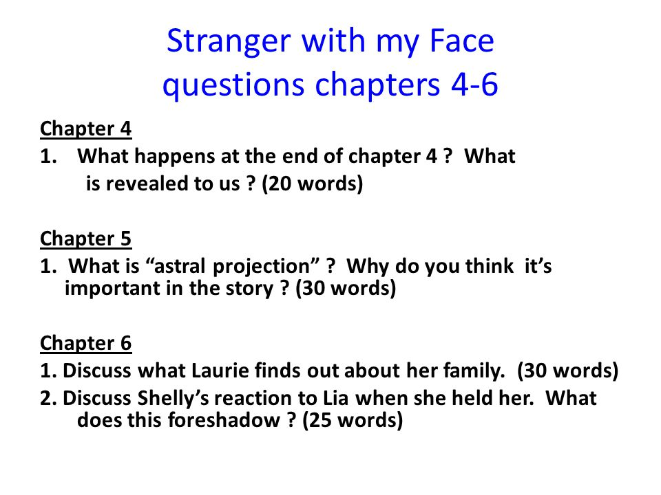 Stranger with my Face questions chapters 4-6