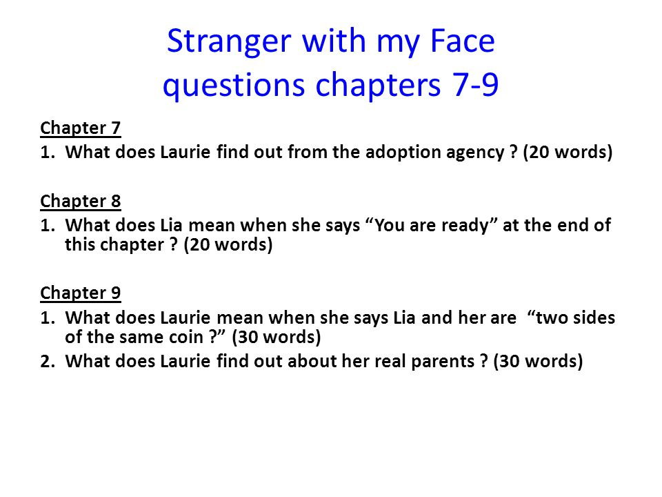 Stranger with my Face questions chapters 7-9