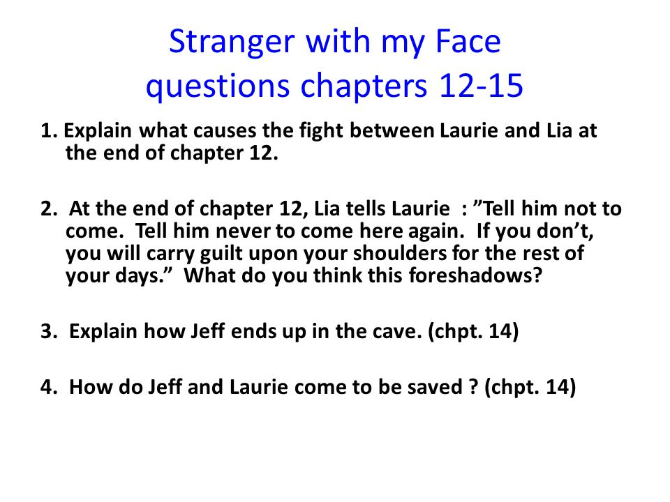 Stranger with my Face questions chapters 12-15