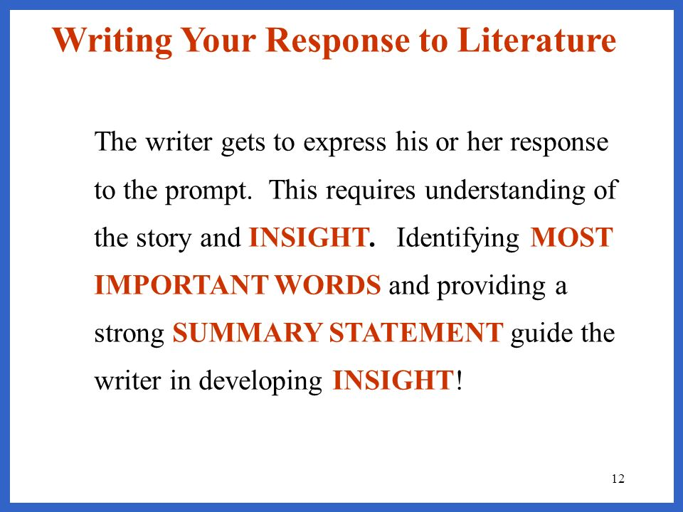 Writing Your Response to Literature