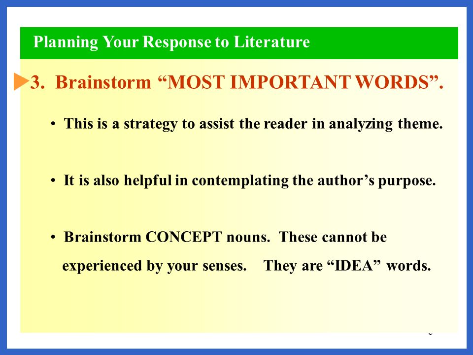 3. Brainstorm MOST IMPORTANT WORDS .