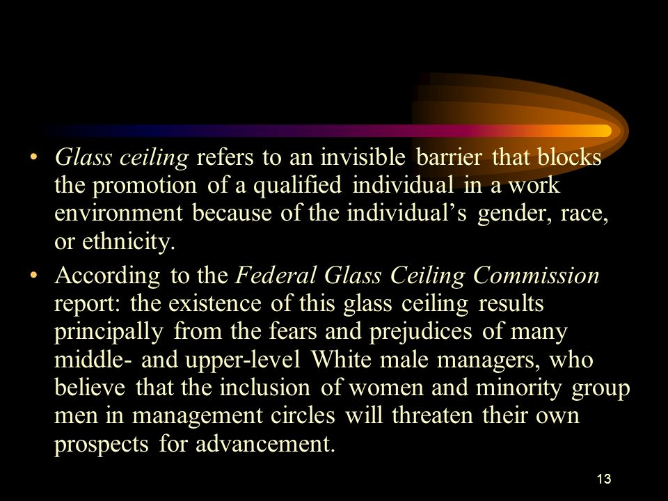 Glass ceiling refers to an invisible barrier that blocks the promotion of a qualified individual in a work environment because of the individual's gender, race, or ethnicity.