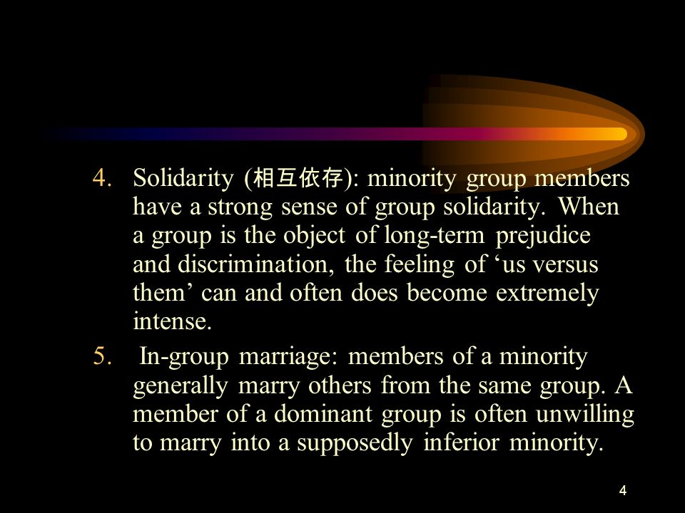 Solidarity (相互依存): minority group members have a strong sense of group solidarity. When a group is the object of long-term prejudice and discrimination, the feeling of 'us versus them' can and often does become extremely intense.