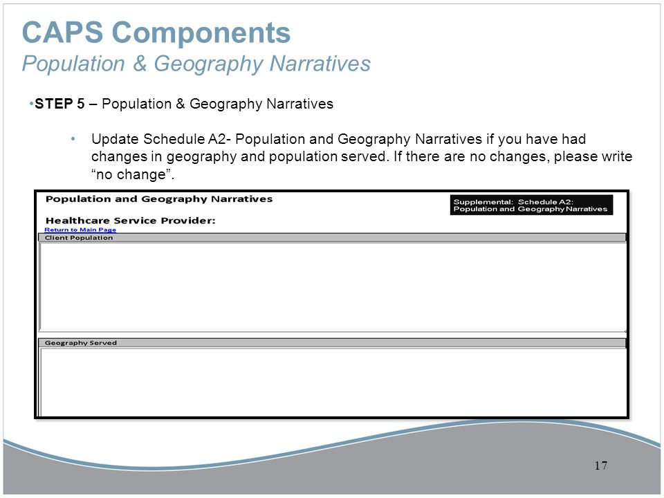 CAPS Components Population & Geography Narratives