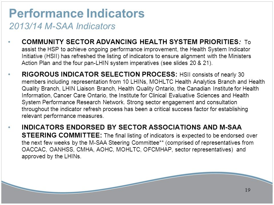 Performance Indicators 2013/14 M-SAA Indicators