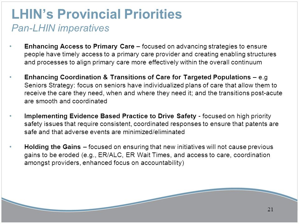 LHIN's Provincial Priorities Pan-LHIN imperatives