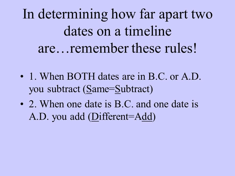In determining how far apart two dates on a timeline are…remember these rules!