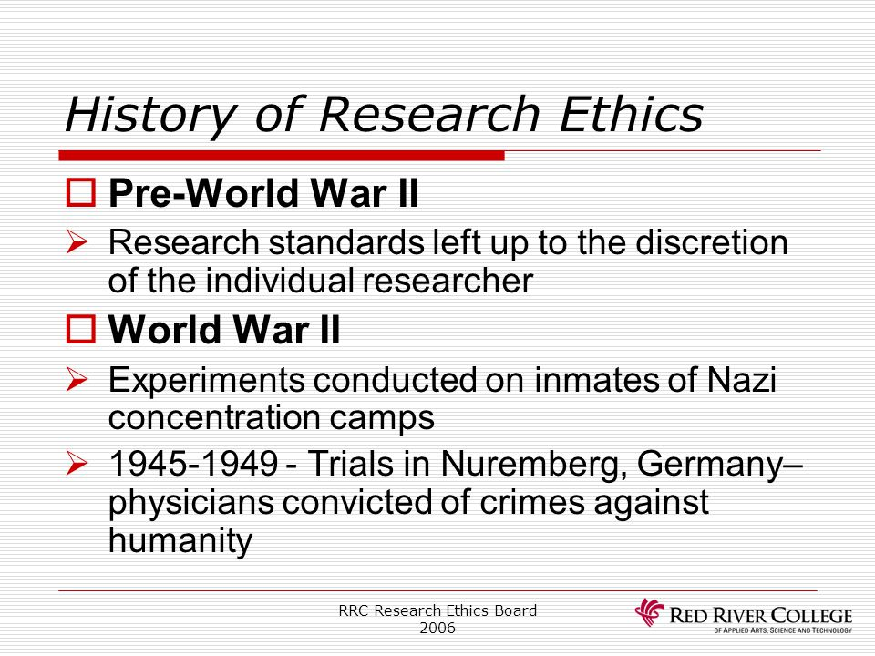 History of Research Ethics
