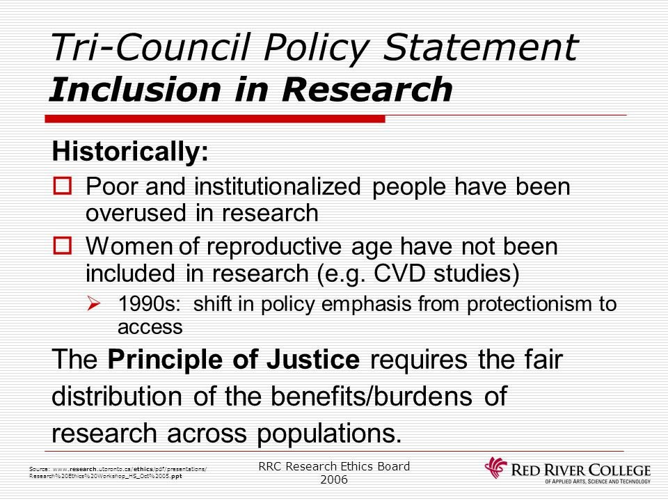 Tri-Council Policy Statement Inclusion in Research