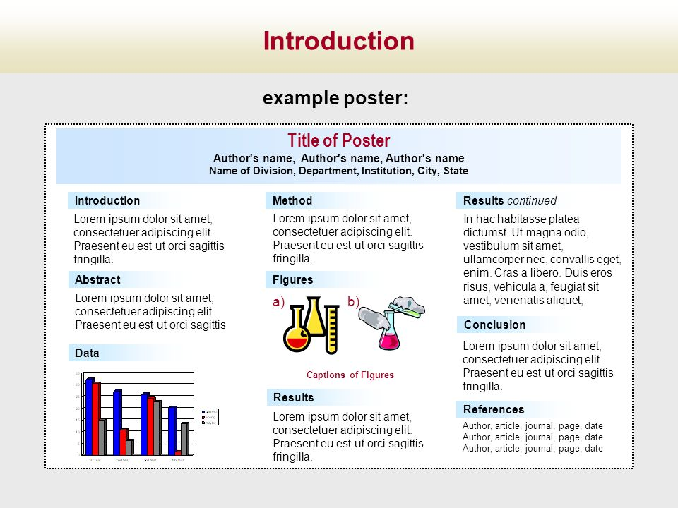 Introduction example poster: Title of Poster a) b)