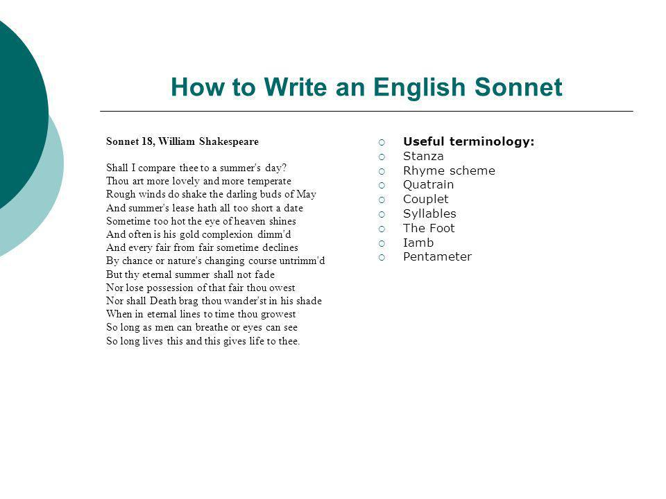 How to Write an English Sonnet