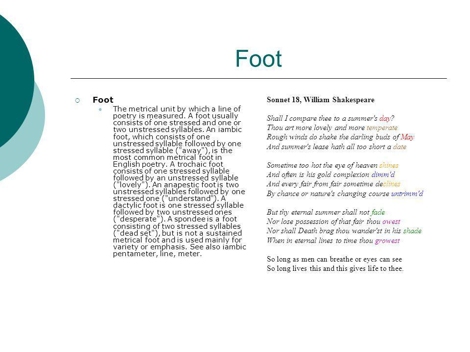 Foot Foot Sonnet 18, William Shakespeare