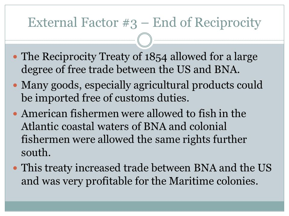 External Factor #3 – End of Reciprocity