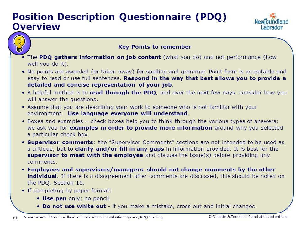 Completing the PDQ Section 1: Position Identification
