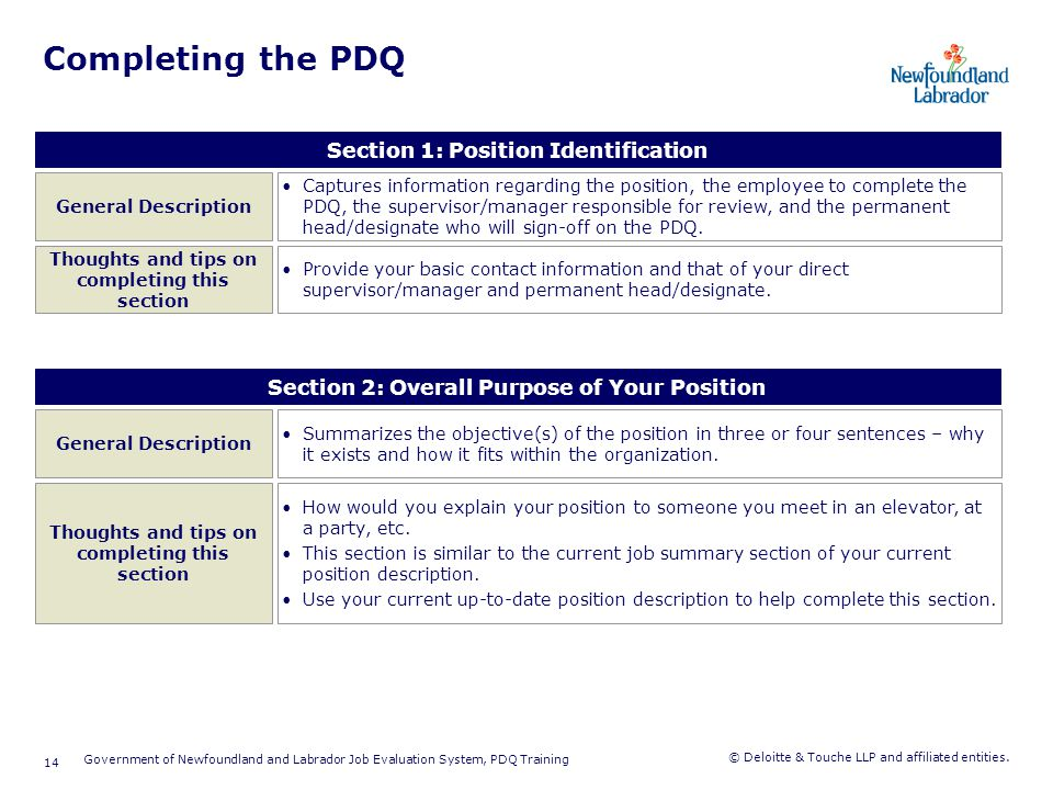 Completing the PDQ Section 3: Key and Periodic Activities