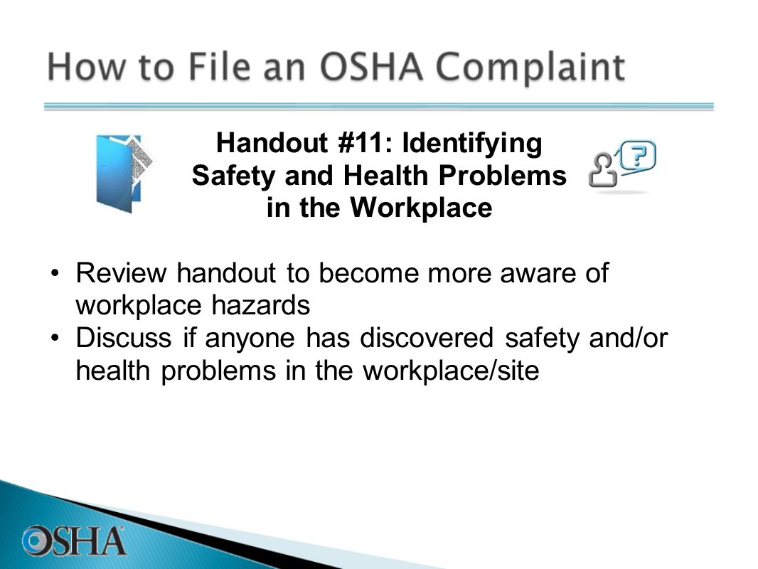 Handout #11: Identifying Safety and Health Problems in the Workplace
