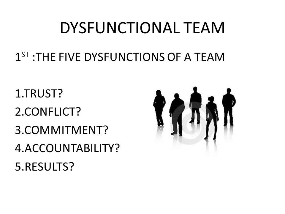 DYSFUNCTIONAL TEAM 1ST :THE FIVE DYSFUNCTIONS OF A TEAM 1.TRUST
