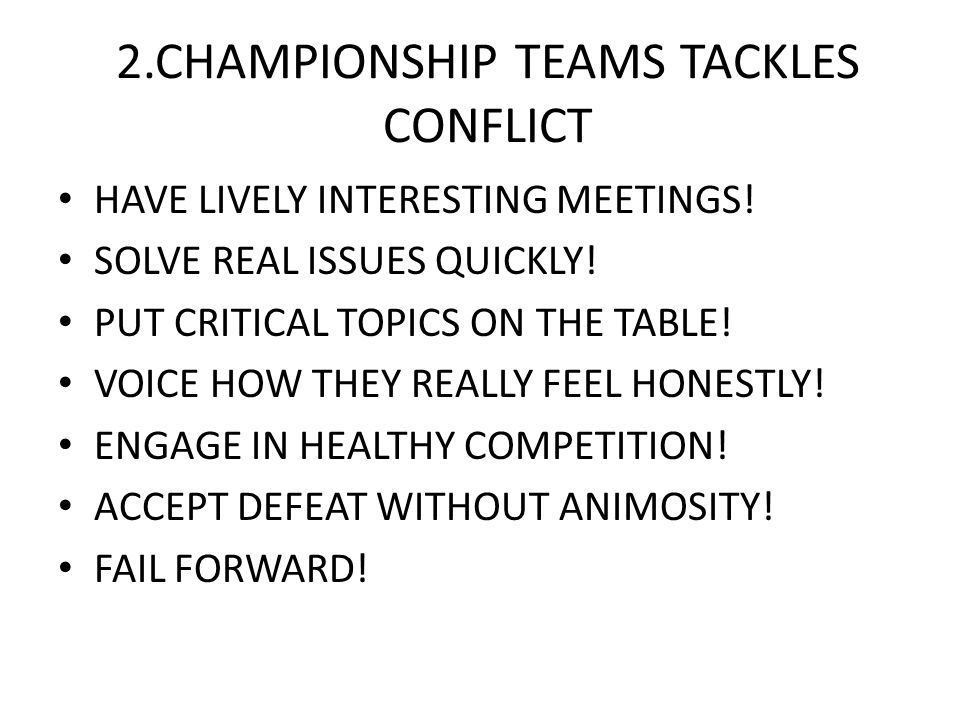 2.CHAMPIONSHIP TEAMS TACKLES CONFLICT