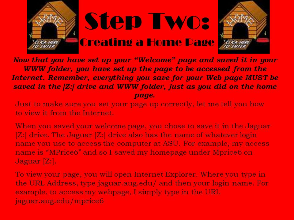 Step Two: Creating a Home Page