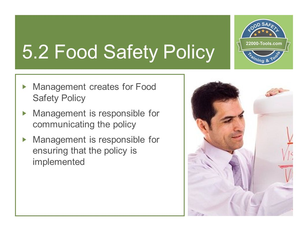 5.2 Food Safety Policy Management creates for Food Safety Policy