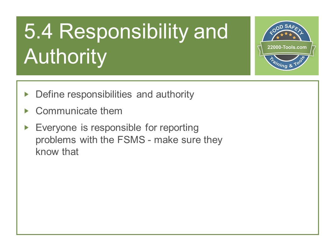 5.4 Responsibility and Authority