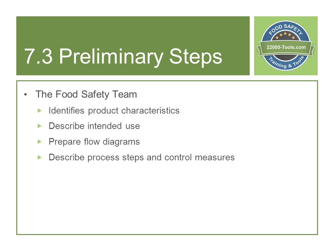 7.3 Preliminary Steps The Food Safety Team