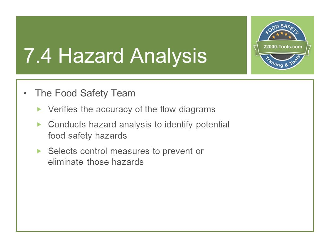 7.4 Hazard Analysis The Food Safety Team
