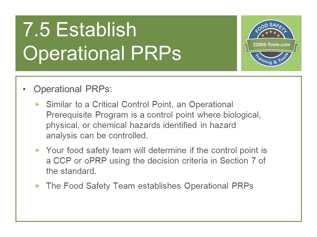 7.5 Establish Operational PRPs