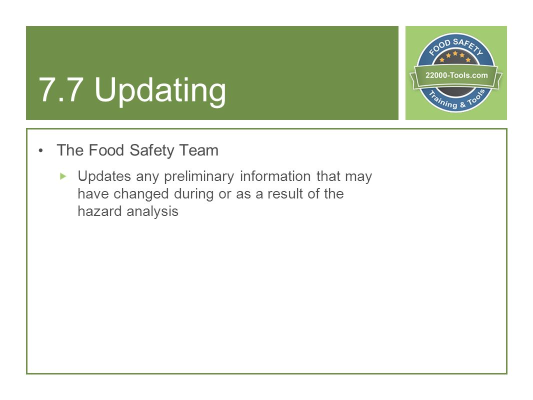 7.7 Updating The Food Safety Team