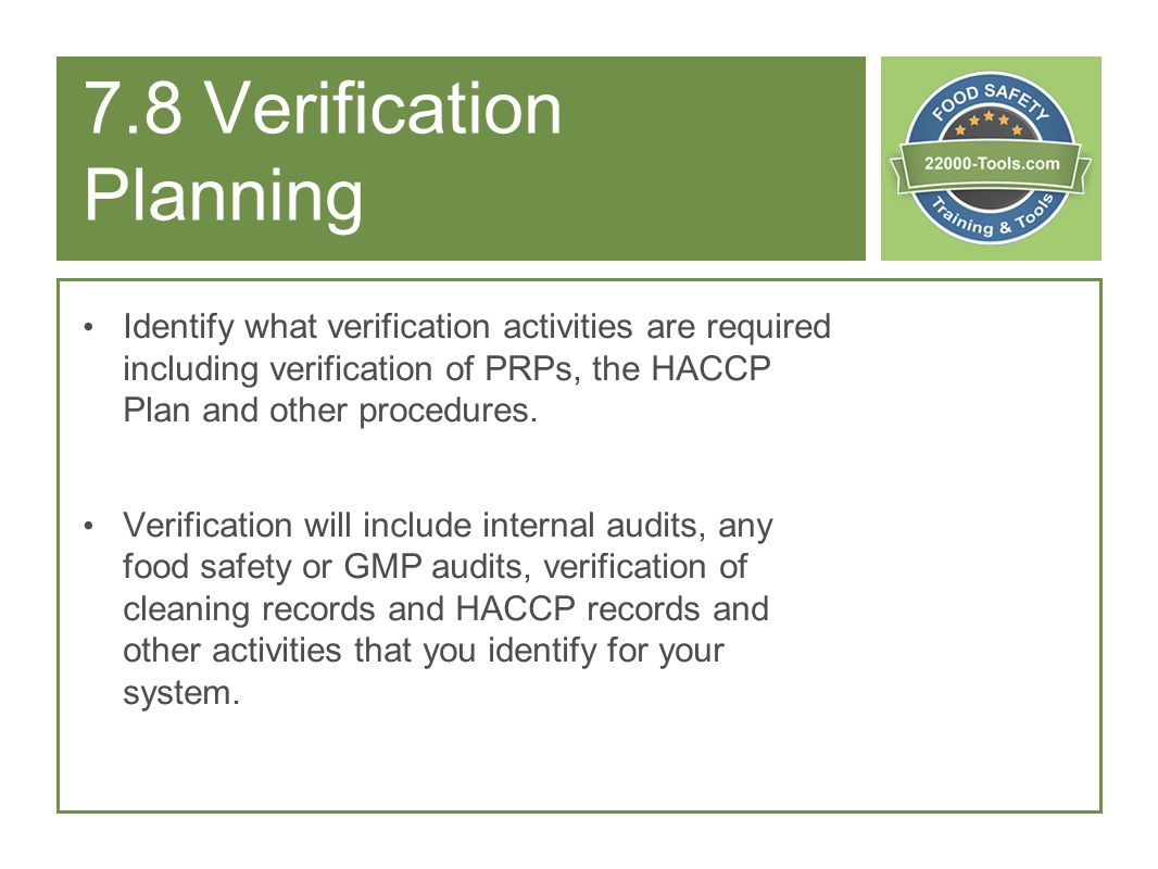 7.8 Verification Planning