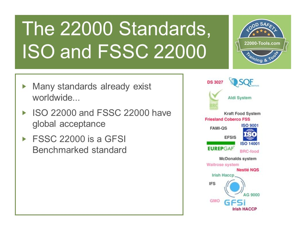 The Standards, ISO and FSSC 22000