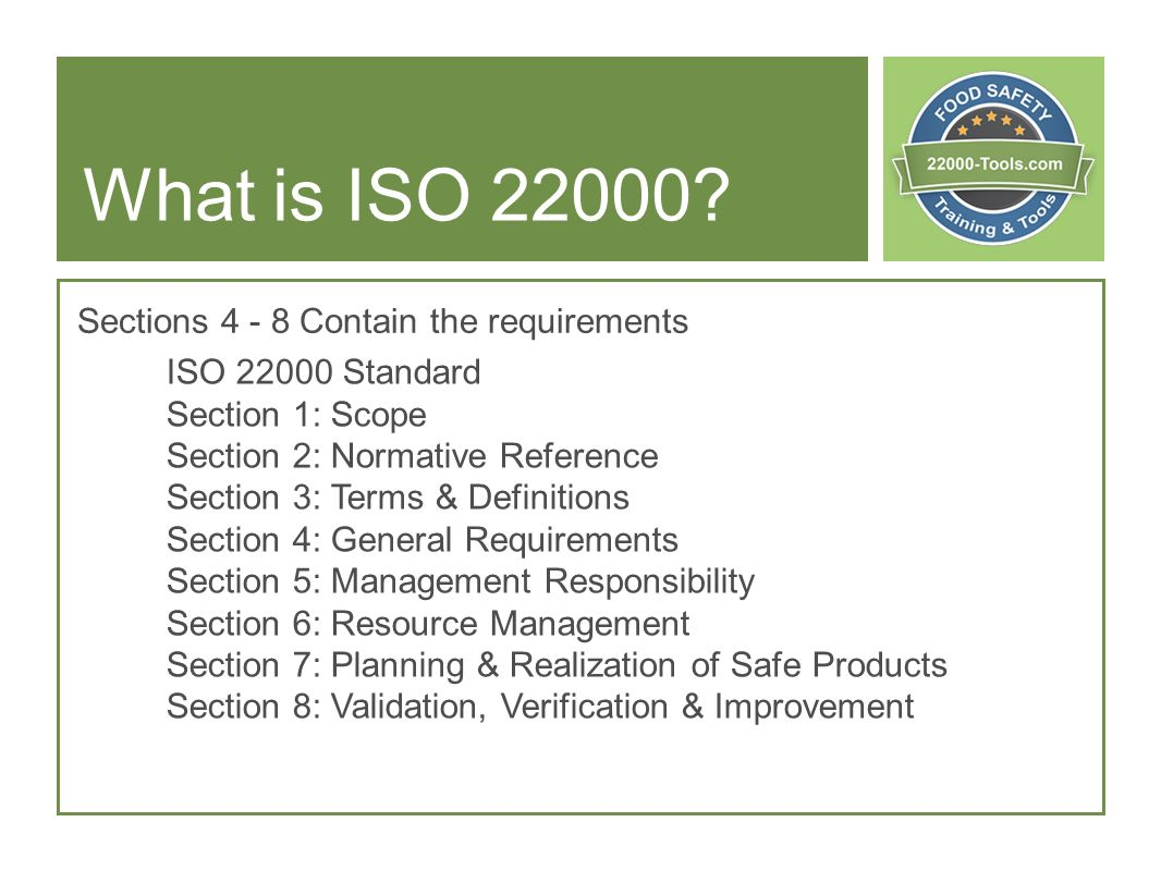 What is ISO Sections Contain the requirements