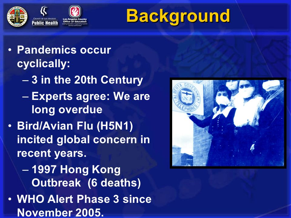 Background Pandemics occur cyclically: 3 in the 20th Century
