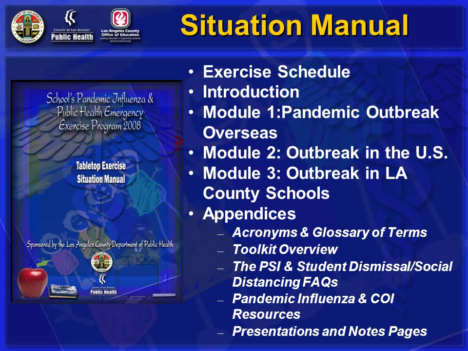 Situation Manual Exercise Schedule Introduction