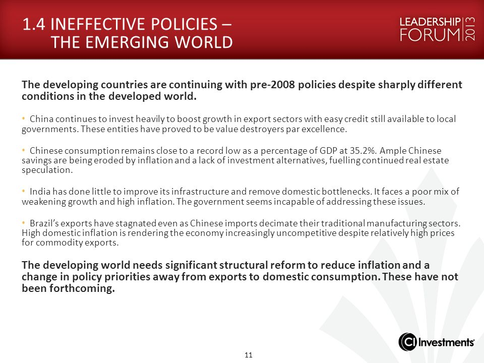 1.4 INEFFECTIVE POLICIES – THE EMERGING WORLD