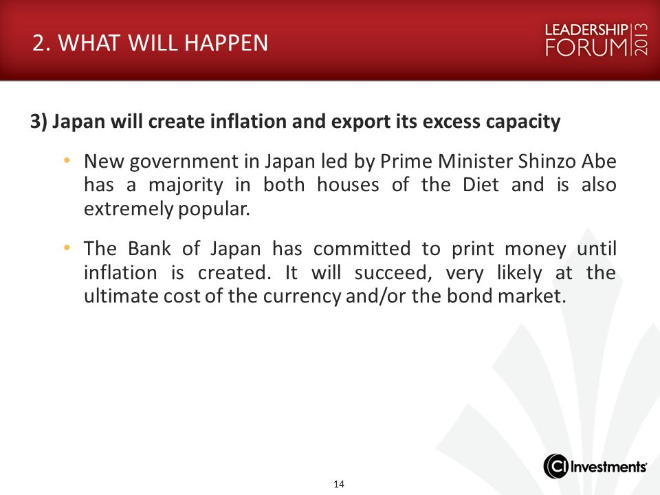 2. WHAT WILL HAPPEN 3) Japan will create inflation and export its excess capacity.