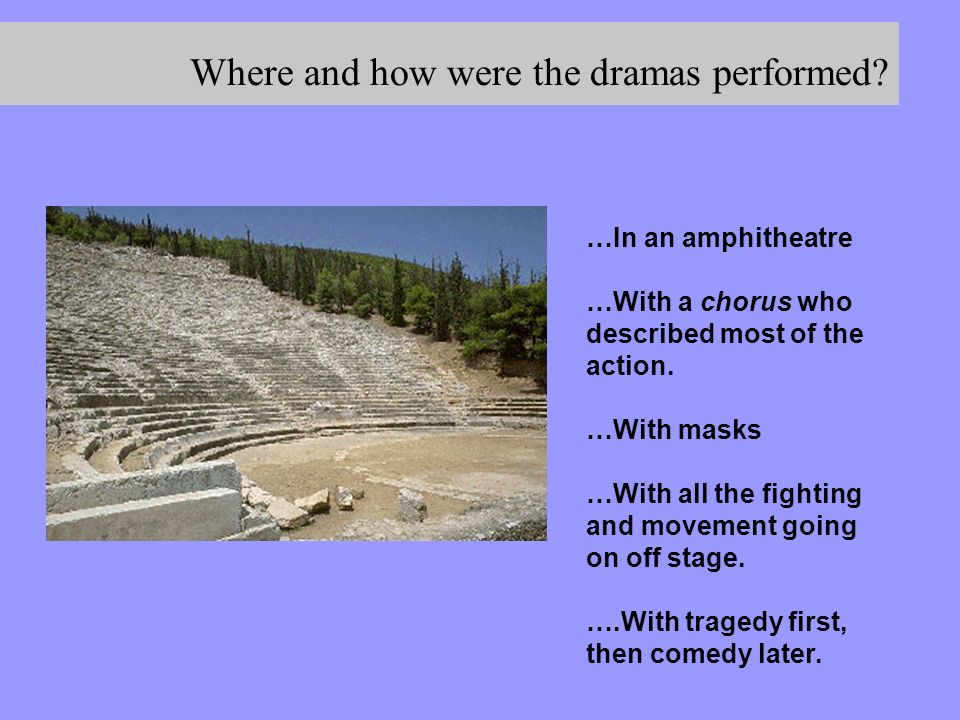 Where and how were the dramas performed