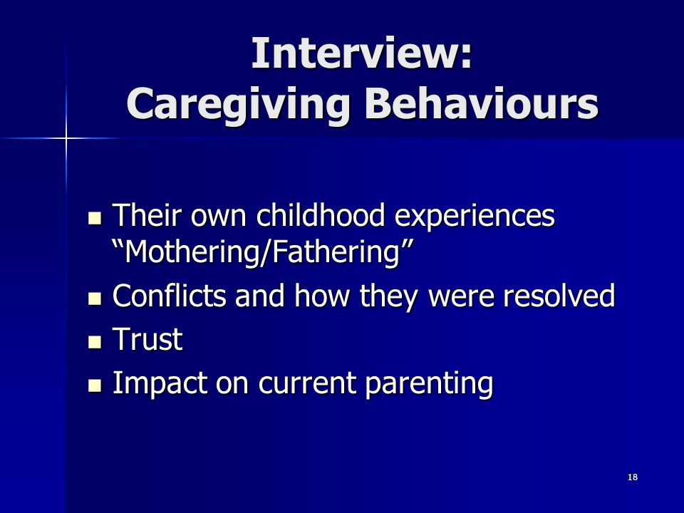 Interview: Caregiving Behaviours