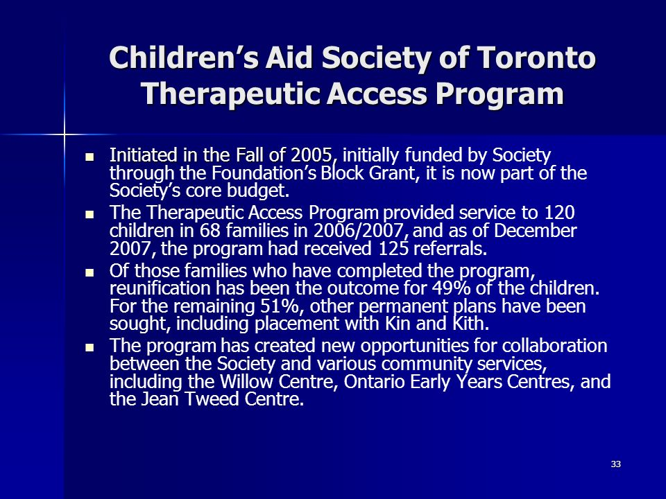 Children's Aid Society of Toronto Therapeutic Access Program