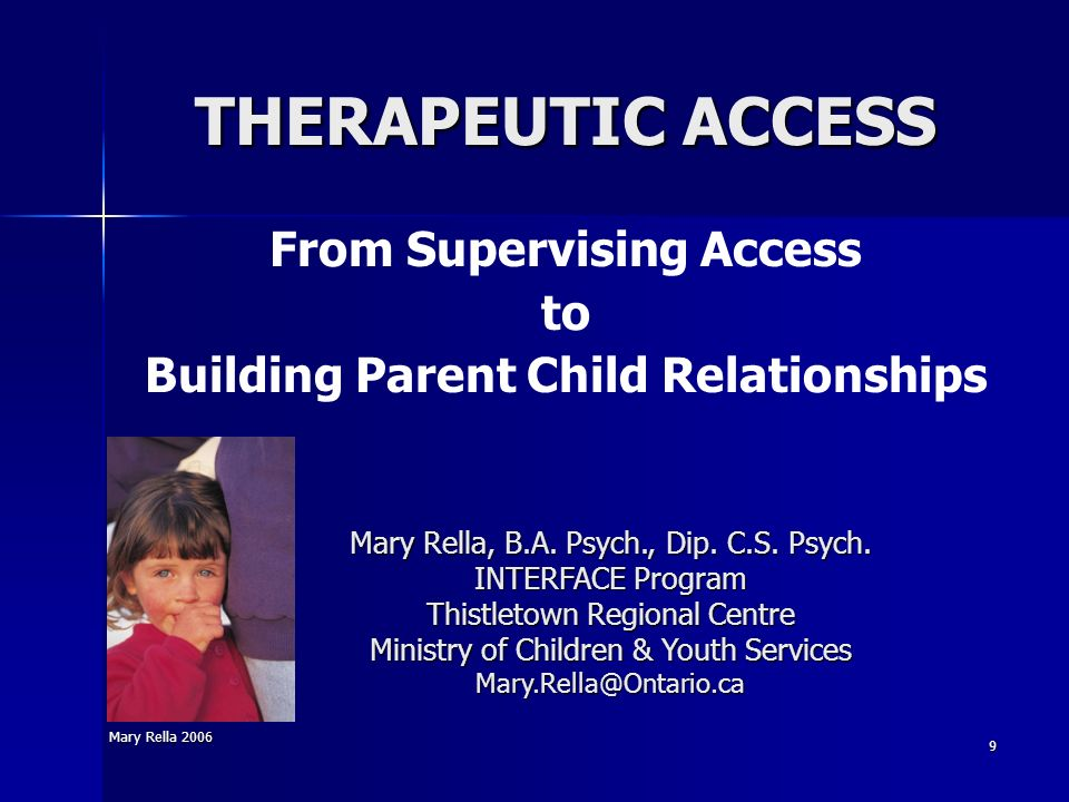 From Supervising Access Building Parent Child Relationships