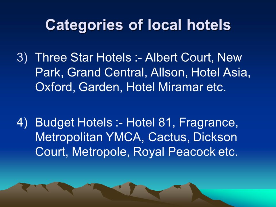 Categories of local hotels