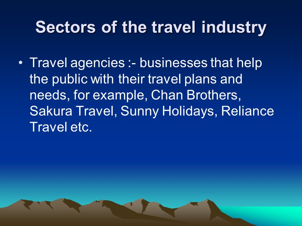 Sectors of the travel industry