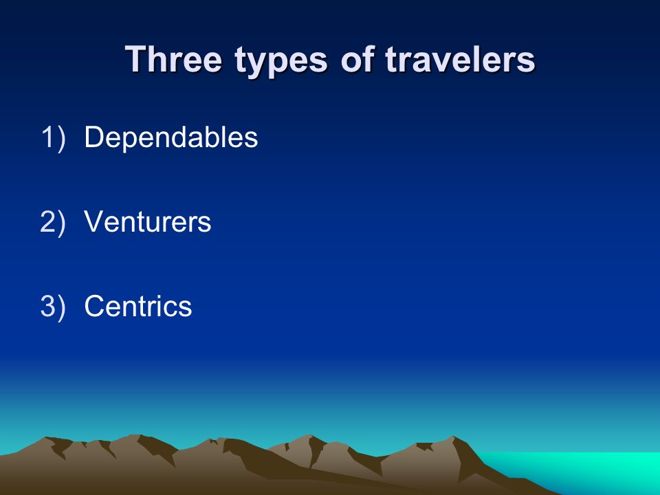 Three types of travelers