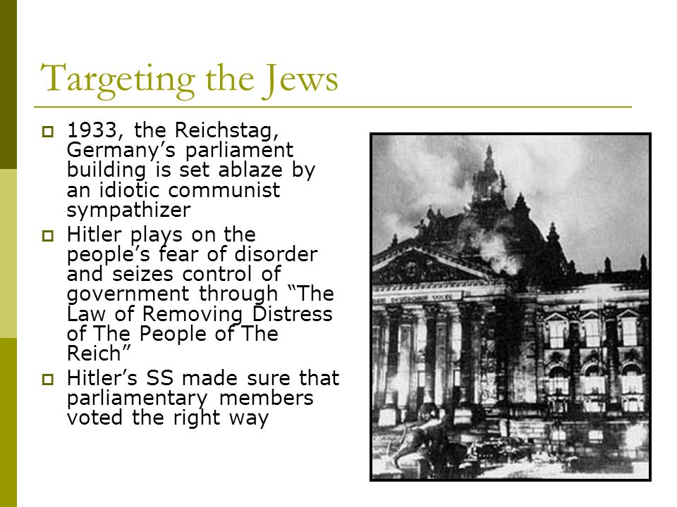 Targeting the Jews 1933, the Reichstag, Germany's parliament building is set ablaze by an idiotic communist sympathizer.