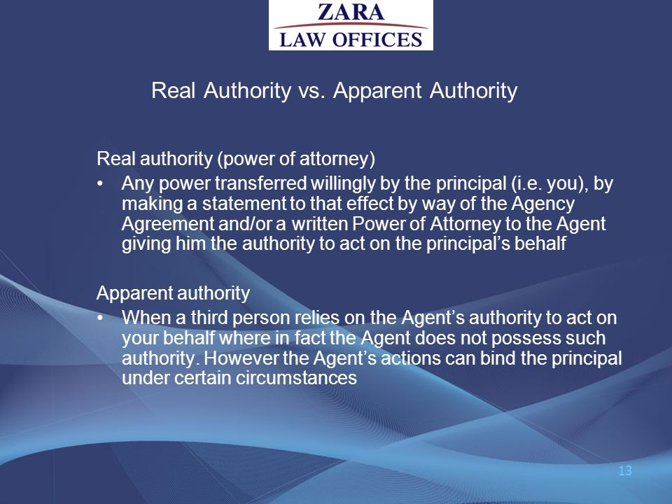 Real Authority vs. Apparent Authority