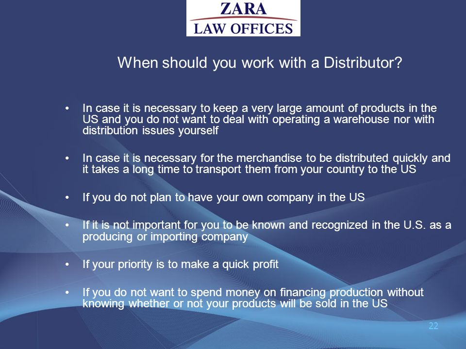 When should you work with a Distributor
