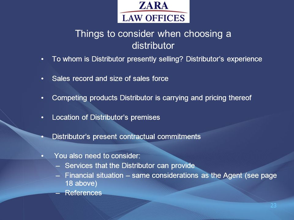 Things to consider when choosing a distributor