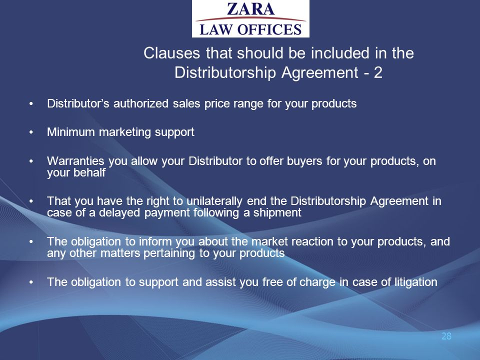 Clauses that should be included in the Distributorship Agreement - 2